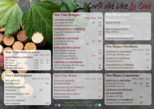 Carte des vins balcons de l'espérance