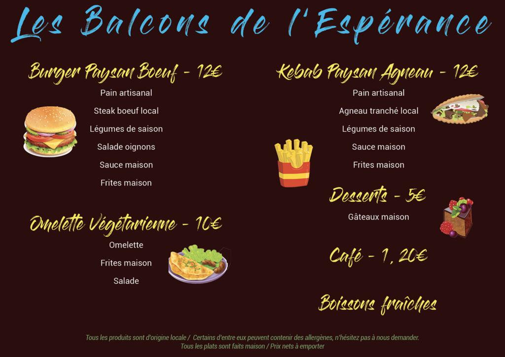 Menu Burgers Kebabs Les Balcons de l'Espérance covid19